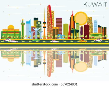 Kuwait Skyline with Color Buildings, Blue Sky and Reflections. Vector Illustration. Business Travel and Tourism Concept with Modern Architecture. Image for Presentation Banner Placard and Web.