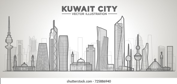 Kuwait skyline with panorama in white background. Vector Illustration. Business travel and tourism concept with modern buildings. Image for presentation, banner, web site.