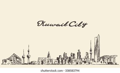 Kuwait skyline, vector vintage engraved illustration, hand drawn