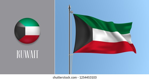 Kuwait waving flag on flagpole and round icon vector illustration. Realistic 3d mockup of tricolor of Kuwaiti flag and circle button