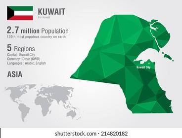Kuwait world map with a pixel diamond texture. World geography.