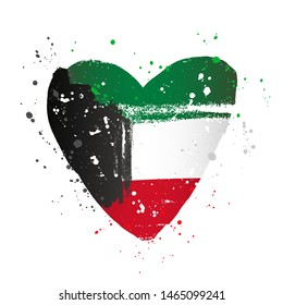 Kuwaiti flag in the form of a big heart. Vector illustration on white background. Brush strokes drawn by hand. National Day in Kuwait.
