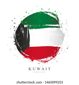 Kuwaiti flag in the form of a large circle. Vector illustration on white background. Brush strokes drawn by hand. National Day in Kuwait