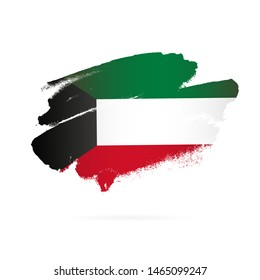 Kuwaiti flag. Vector illustration on white background. Brush strokes drawn by hand. National Day in Kuwait.