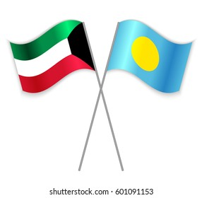 Kuwaiti and Palauan crossed flags. Kuwait combined with Palau isolated on white. Language learning, international business or travel concept.