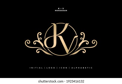 KV or DKV initial letter and graphic name, KV Monogram, for Wedding couple logo, logo company and icon business, with golden colors  designs with isolated black backgrounds