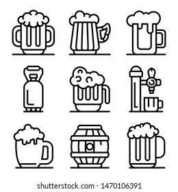 Kvass icons set. Outline set of kvass vector icons for web design isolated on white background