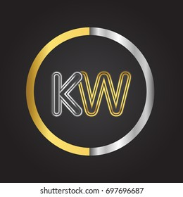 KW Letter logo in a circle. gold and silver colored. Vector design template elements for your business or company identity.
