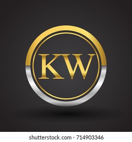 KW Letter logo in a circle, gold and silver colored. Vector design template elements for your business or company identity.