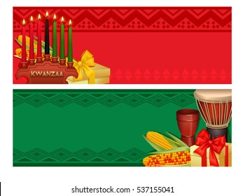 Kwanzaa african american holiday celebration with traditional dishes and candles 2 colorful red green banners vector illustration