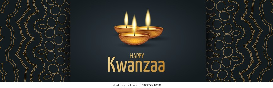 Kwanzaa banner. Traditional african american ethnic holiday design concept with a burning candles and ornament. Vector illustration.