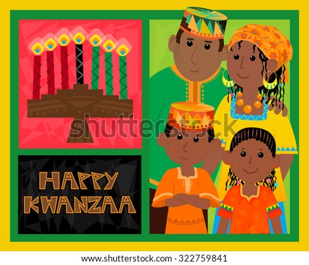 Kwanzaa card cute kwanzaa greeting card stock vector royalty free kwanzaa card cute kwanzaa greeting card with kinara happy kwanzaa text and african american m4hsunfo
