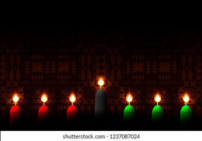 Kwanzaa. Concept of an African American festival in the United States. 7 candles of traditional colors. Ethnic patterns on the background