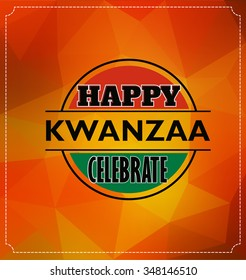 Kwanzaa Day Typographic Vector Design on Abstract Background Design with Triangles - Happy Kwanzaa