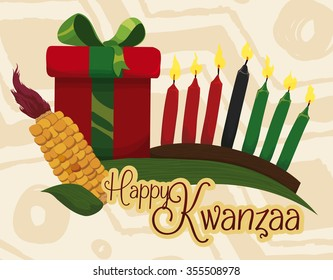 Kwanzaa gift with traditional elements wishing you happy holidays.