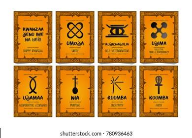 kwanzaa greeting card park. kwanzaa symbol. ethnic design. vector.