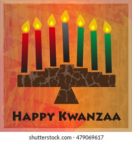 Kwanzaa Greetings - Kinara and Happy Kwanzaa text on orange abstract background. Eps10