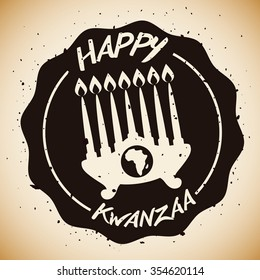 Kwanzaa kinara with Africa map and greeting message.