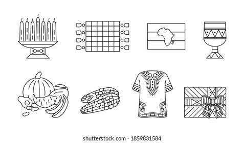 Kwanzaa - Set of outline icons. Traditional symbols of african-american unity. Kinara, Mkeka mat, goblet Kikombe Cha Umoja, Dashiki shirt, kente style giftbox. Design element for Kwanza celebration