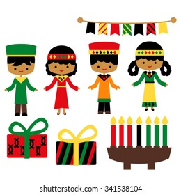Kwanzaa vector in red, green, black, and yellow.