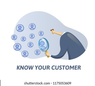 KYC, Know Your Customer concept. Businessman looking at the partners-to-be through a magnifying glass. Colored flat vector illustration on white background.