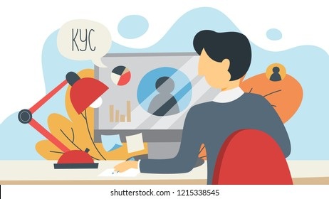 KYC or know your customer concept. Idea of business identification and finance safety. Man working on laptop computer. Cyber crime. Isolated flat illustration