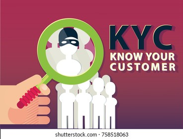 KYC or know your customer concept, vector illustration.