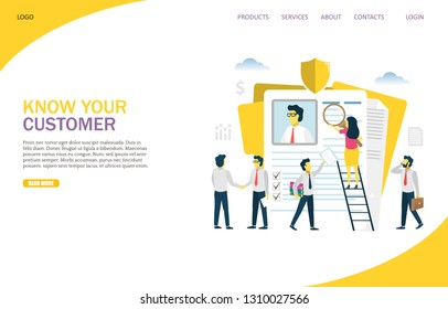 KYC, know your customer vector website template, web page and landing page design for website and mobile site development. Process of business verifying the identity of its clients concept.