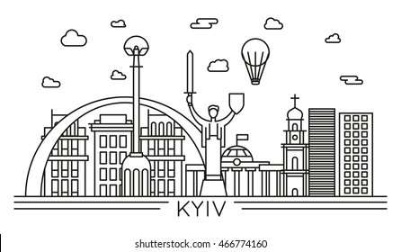 kyiv city line vector illustration. linear style capital famous buildings, monuments and sights