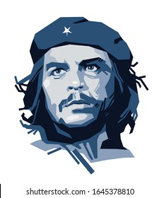 Kyiv. February 2020. Stylized vector portrait of Cuban revolutionary Ernesto Che Guevara. Editorial use only.