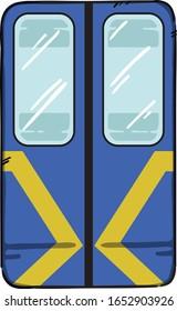 Kyiv Metro Train Doors Vector Illustration. Blue underground automatic doors.