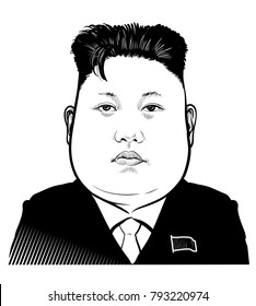 Kyiv, Ukraine, 01.13.2018.  Vector portrait of leader of North Korea Kim Jong-un. Editorial. eps.10