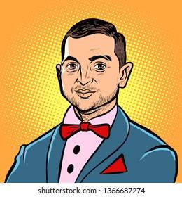 Kyiv, Ukraine - April 11, 2019. Portrait of the presidential candidate of Ukraine Vladimir Zelensky. Actor comedian leader Kvartal 95. Pop art retro illustration