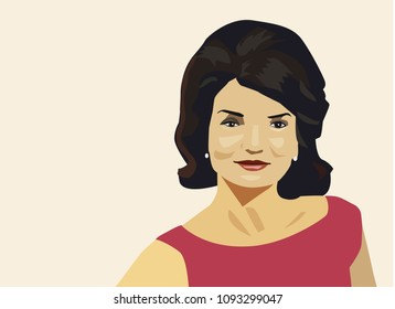 Kyiv / Ukraine - May 18, 2018: Jacqueline Kennedy Onassis vector portrait