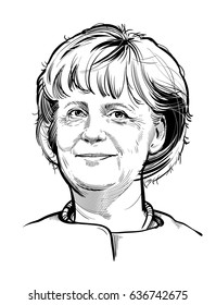 Kyiv, Ukraine -- May 9, 2017. Portrait of Chancellor of Germany Angela Merkel. Hand drawn vector illustration. Editorial use only