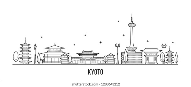 Kyoto City skyline, Tamil Nadu, Japan. This illustration represents the city with its most notable buildings. Vector is fully editable, every object is holistic and movable