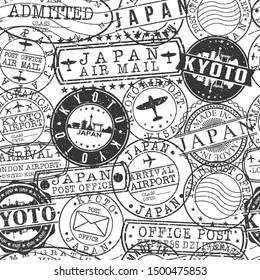 Kyoto Japan Stamps. City Stamp Vector Art. Postal Passport Travel. Design Set Pattern.