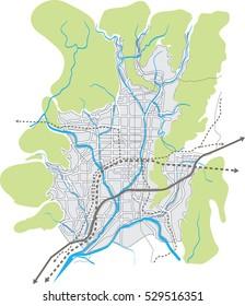Kyoto (Japan) vector map