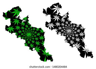 Kyoto Prefecture (Administrative divisions of Japan, Prefectures of Japan) map is designed cannabis leaf green and black, Kyoto map made of marijuana (marihuana,THC) foliage,