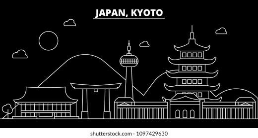 Kyoto silhouette skyline. Japan - Kyoto vector city, japanese linear architecture, buildings. Kyoto travel illustration, outline landmarks. Japan flat icon, japanese line banner
