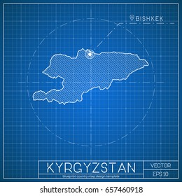 South korea blueprint map template capital stock vector 658476865 kyrgyzstan blueprint map template with capital city bishkek marked on blueprint kirghiz map vector malvernweather Gallery
