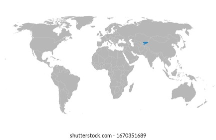 Kyrgyzstan country highlighted on world map. Gray background. Perfect for backgrounds, backdrop, poster, sticker, banner, label, chart and wallpaper.