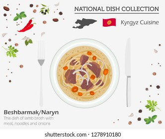 Kyrgyzstan Cuisine. Asian national dish collection. Beshbarmak isolated on white, infograpic. Vector illustration
