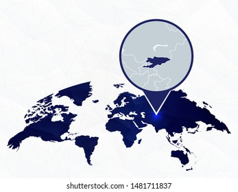 Kyrgyzstan detailed map highlighted on blue rounded World Map. Map of Kyrgyzstan in circle.