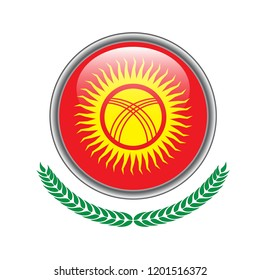 kyrgyzstan flag button. kyrgyzstan  flag icon. Vector illustration of  kyrgyzstan  flag on white background.