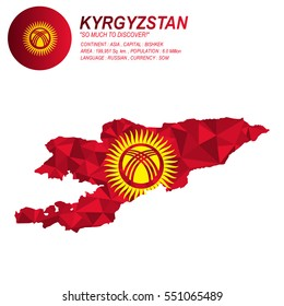 Kyrgyzstan flag overlay on Kyrgyzstan map with polygonal style.(EPS10 art vector)