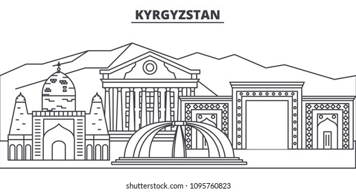 Kyrgyzstan line skyline vector illustration. Kyrgyzstan linear cityscape with famous landmarks, city sights, vector landscape.