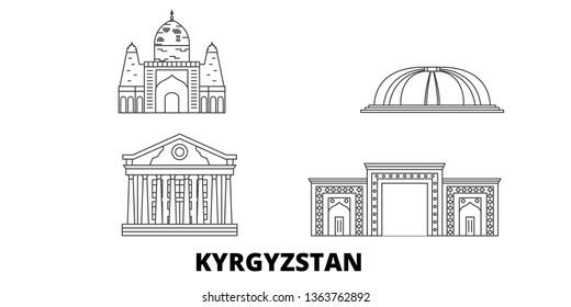 Kyrgyzstan line travel skyline set. Kyrgyzstan outline city vector illustration, symbol, travel sights, landmarks.