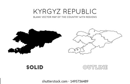 Kyrgyzstan map. Blank vector map of the Country with regions. Borders of Kyrgyzstan for your infographic. Vector illustration.