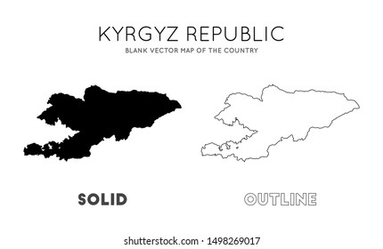Kyrgyzstan map. Blank vector map of the Country. Borders of Kyrgyzstan for your infographic. Vector illustration.